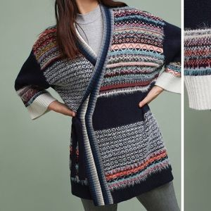 Anthropologie Mixed-Stitch Cardigan Sweater